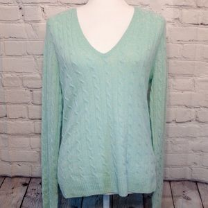 J. Crew Mint Green Cashmere V-Neck Sweater